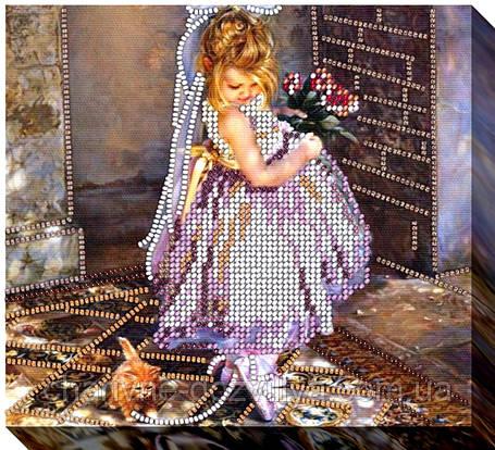 """Набор для вышивки бисером на хлопковом холсте девочка """"Маленькая принцесса"""", фото 2"""