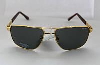 Стильные прямоугольные мужские солнцезащитные очки с черными линзами