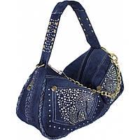 Красивая женская джинсовая сумка со стразами  дешево