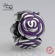 """Серебряная подвеска-шарм Пандора (Pandora) """"Фиолетовые розы"""" для браслета"""