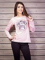 Молодежная кофта женская с принтом p.42-48 цвет пудра VM1804-1