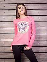 Молодежная кофта женская с принтом p.42-48 цвет розовый VM1804-4