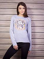 Молодежная кофта женская с принтом p.42-48 цвет серый VM1804-2
