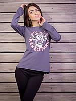 Молодежная кофта женская с принтом p.42-48 цвет темно-серый VM1804-5