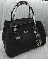 Сумка брендовая Christian Dior черная с питоном Диор