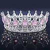 Круглая корона в серебре с розовыми камнями, диадема, тиара, высота 5,5 см.