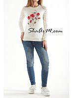 Легкий женский свитер с розами 1180