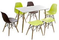 Стол обеденный ТM-40 буковые ножки, столешница МДФ белая, стиль лофт, модерн, Charles Eames style