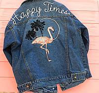 Куртка джинсовая Фламинго синяя