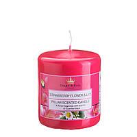 Свеча ароматизированная цветы земляники и лилия 70х80мм. 1шт