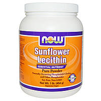 Now Foods, Подсолнечный лецитин, чистый порошок, (454 г)