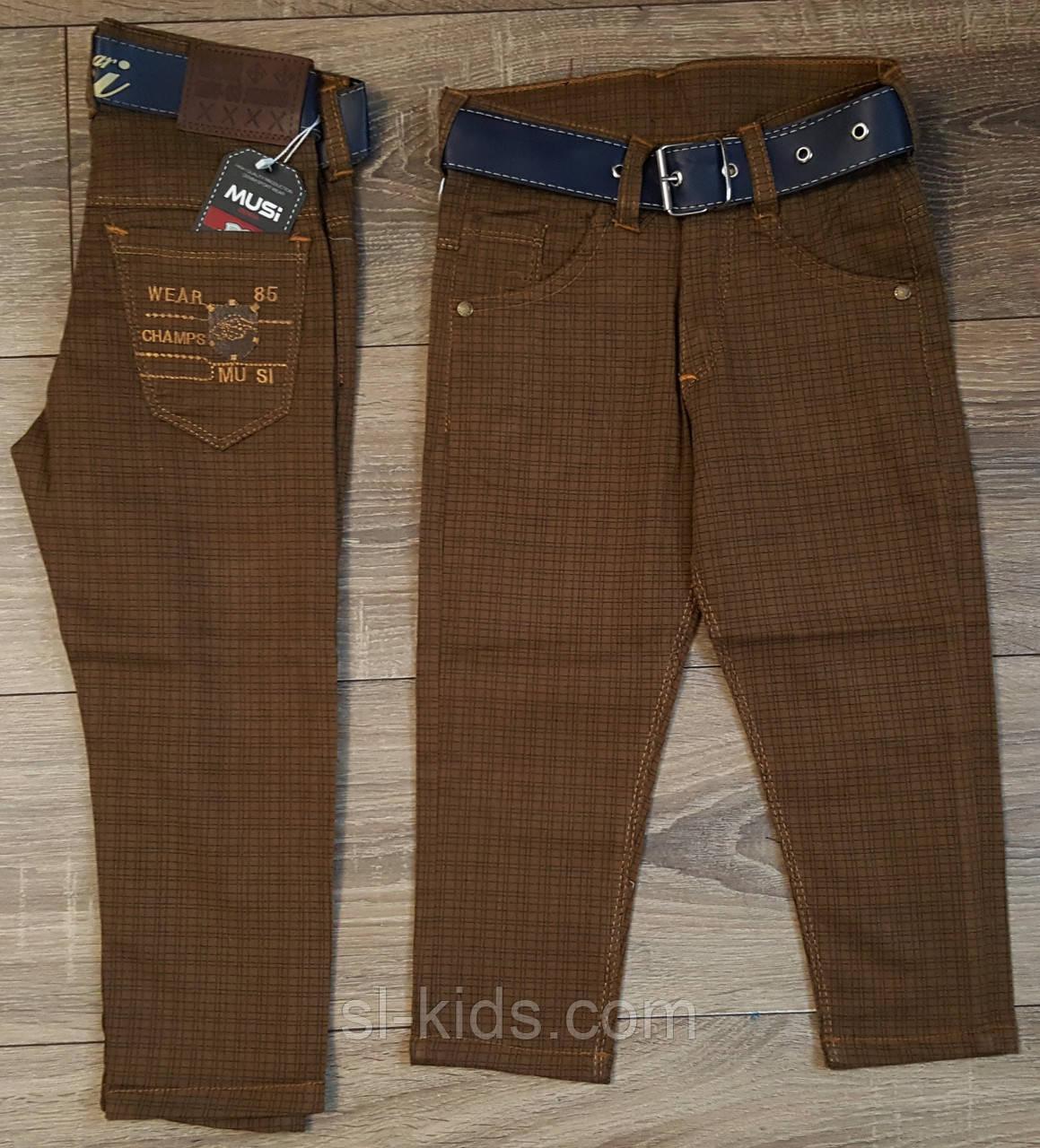 Стильные штаны,джинсы для мальчика 2-6 лет(коричневые клетка)  пр.Турция
