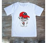 Футболка мужская,женская рисунок белая Бульдог,парные футболки