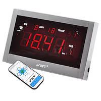 Электронные часы на стену VST 771 Т-1: будильник, термометр, запоминание настроек, пульт ДУ