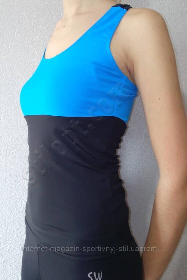 Спортивная майка- борцовка бифлекс черно-голубая