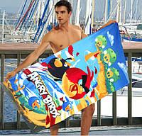 Детское махровое полотенце Angry Birds- №2193, Цвет разноцветный