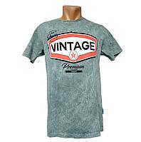 Зеленая мужская футболка Vintage - №2198, Цвет зеленый