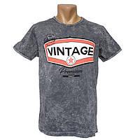Мужская серая футболка Vintage - №2201, Цвет серый