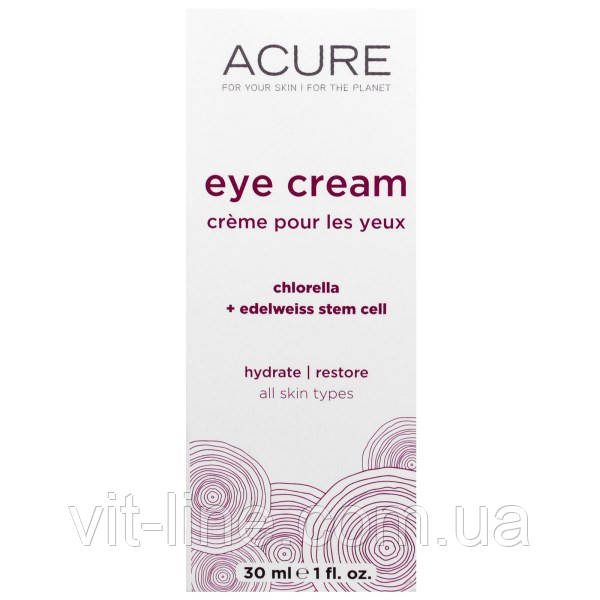 Acure Organics, Крем для глаз, со стволовыми клетками хлореллы и эдельвейса (30 мл)