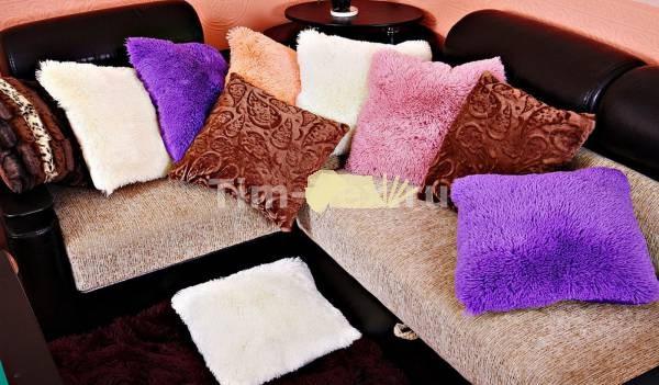 """Наволочки на подушки из меха """"травка"""" 50*50 см"""