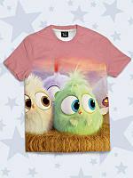 """Фирменная детская футболка """"Птенцы Angry Birds"""" с рисунком/принтом известных героев от 1 года до 10 лет."""
