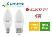 Светодиодная лампа свеча Е14/Е27 4W 2700К/4000К Electrum LC-10