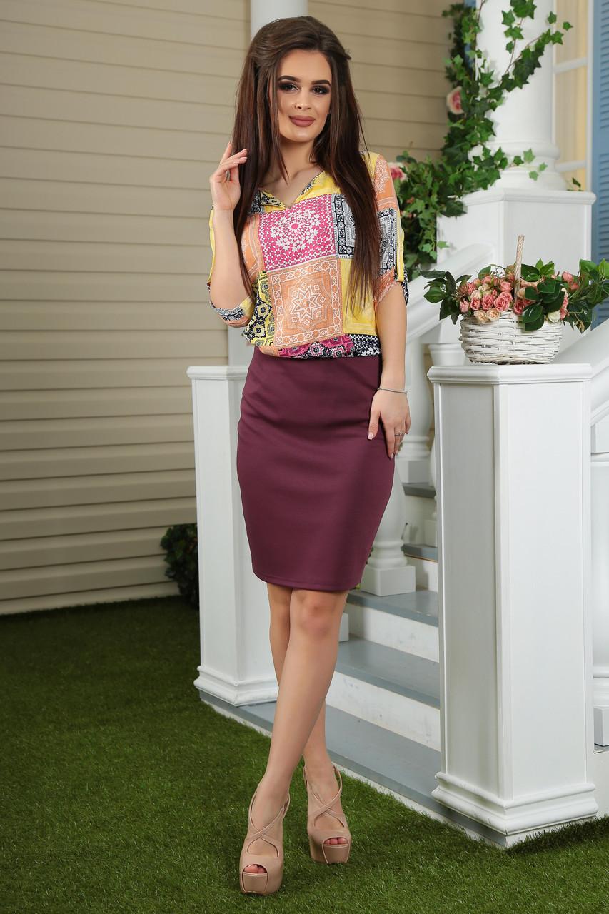 Женская юбка карандаш с завышенной талией