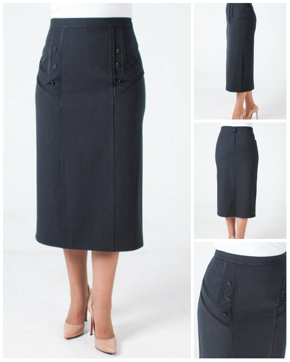 Жіноча спідниця за коліно з костюмної тканини великих розмірів. 48-62