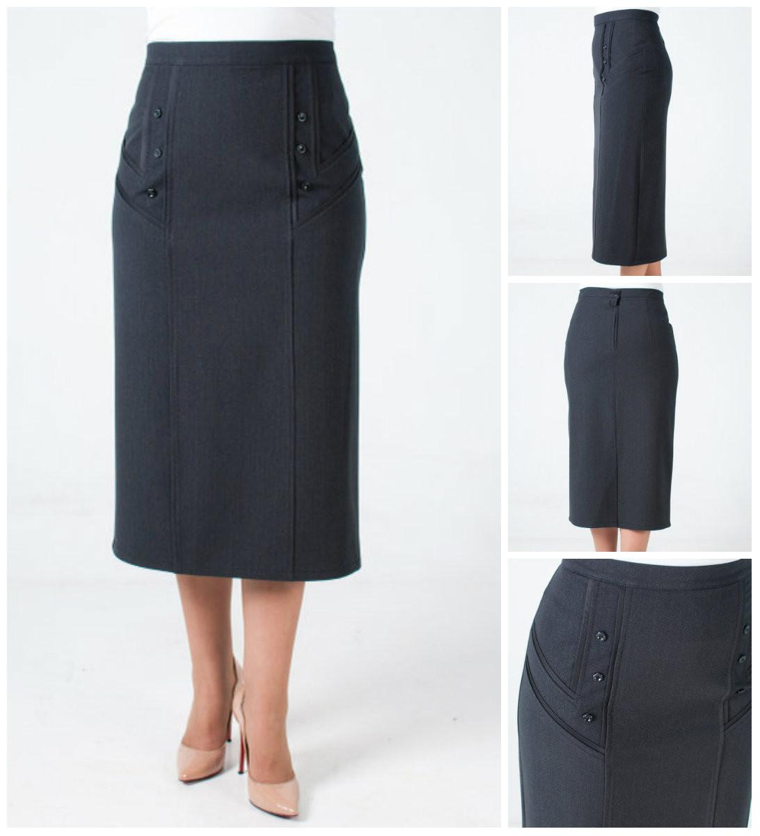 Женская юбка за колено из костюмной ткани Анжелика батального размера. 64-70