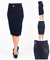 Женская классическая черная юбка средней посадки. 46-56