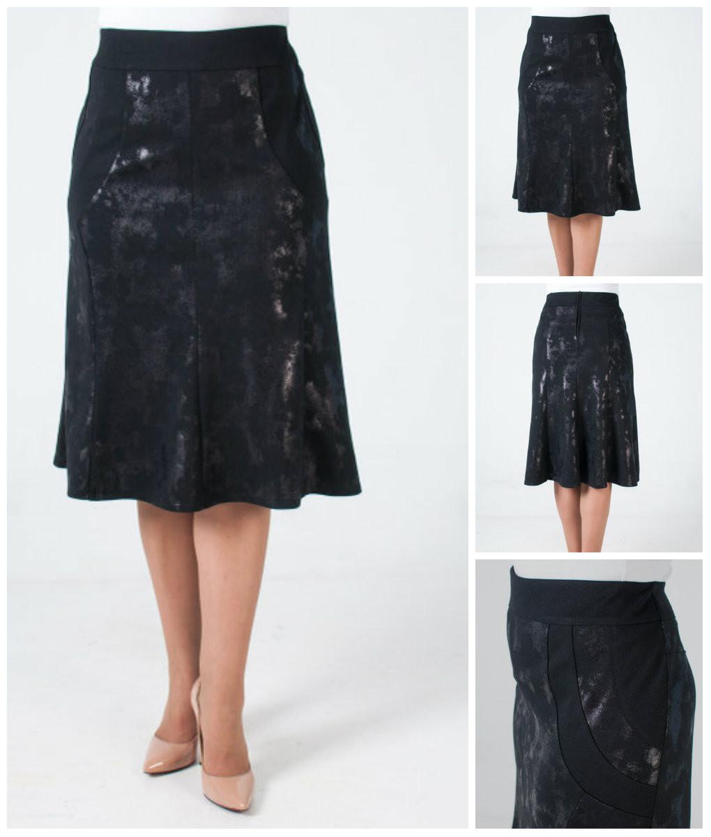 Женская трикотажная юбка на резинке за колено. 50-58