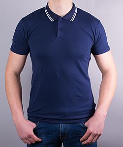 Поло мужское цвет темно-синий с двойным кантом