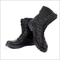 Берцы летние облегченные, обувь для военных, натуральная кожа черный