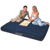 Матрас полуторный надувной велюровый 68758 Intex Downy 137*191*22 см