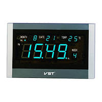 Настенные сетевые часы VST 771 T-5, синяя индикация, будильник, термометр, календарь, пульт ДУ, адаптер