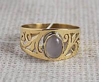Латунное кольцо 18 размера с розовым кварцем