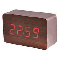 Стильные электронные часы VST 863-1, красная LED-индикация, будильник, дизайн под дерево, USB-кабель