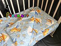Постельный набор в детскую кроватку (3 предмета) Мишки Соты Синий, фото 1