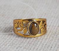 Латунное кольцо 17 размера с тигровым глазом