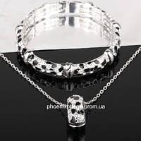 Комплект в великолепном дизайне: Кулон, цепочка, браслет с кристаллами Swarovski, покрытый слоями зол (601821)