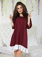 Льняное Платье расклешенное марсала, фото 1