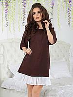 Льняное Платье расклешенное коричневое