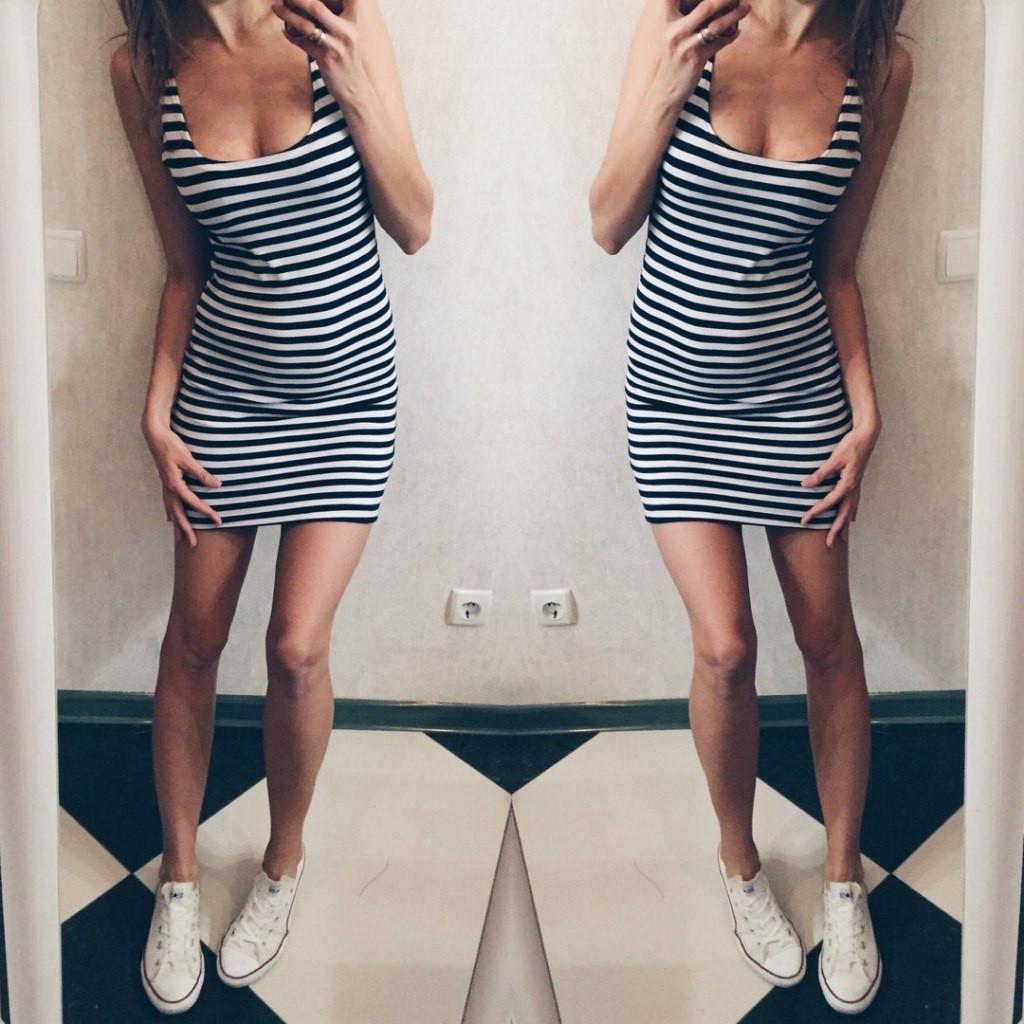 5ce92880e3d12df Летнее платье в полоску короткое