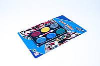 "Краски для грима ""Перламутр"" 6 цветов и кисточка,№6006,аквагрим,набор для творчества"