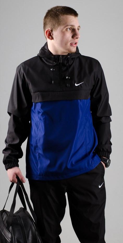 Мужской анорак Nike President черный/синий топ реплика
