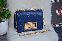 """Сумка в стиле """"Chanel"""" мини, лаковая, синяя."""