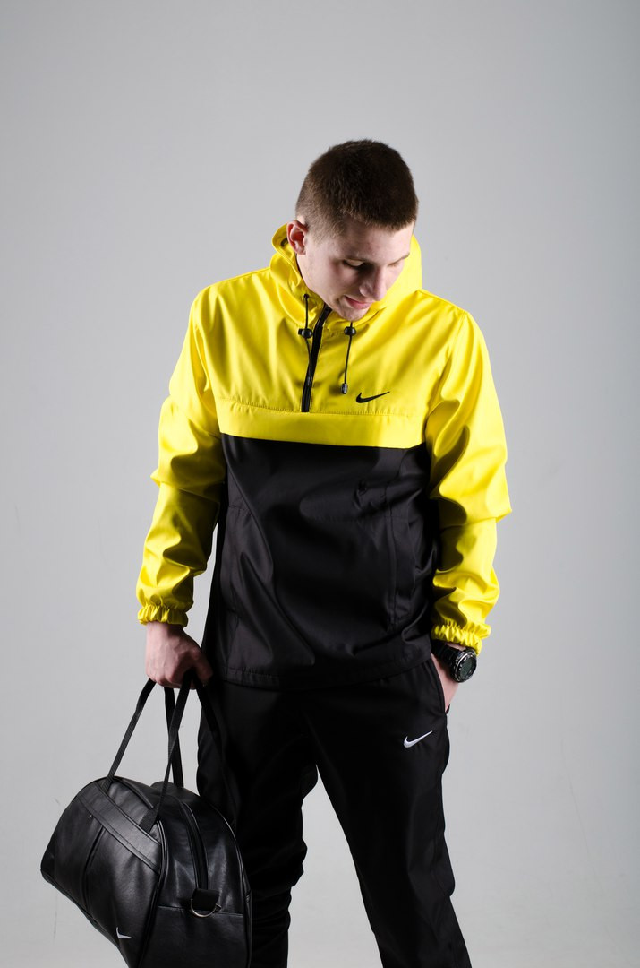 Мужской анорак Nike President черный/желтый топ реплика