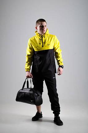 Мужской анорак Nike President черный/желтый топ реплика, фото 2