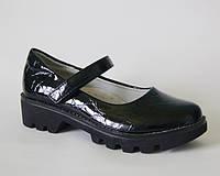 Стильные школьные туфли с кожаной ортопедической стелькой черные р.33,34,35 черные, лаковые для девочкек