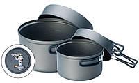 Набор туристической посуды Solo 3 KSK-SOLO3, алюминиевые котелки 0,8/1,2 л, крышки, горелка, чехол, 600 г